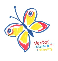 Childlike drawing of butterfly vector