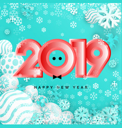 christmas balls background with 2019 new year vector image
