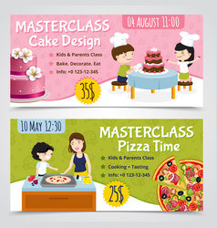 Cooking masterclass banners set vector