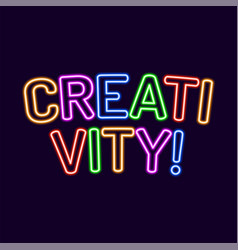 creativity lettering neon font 80s text letter vector image