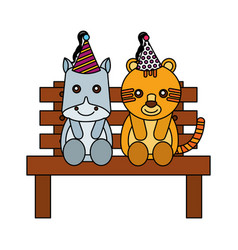 Cute hippo and tiger on bench happy birthday vector