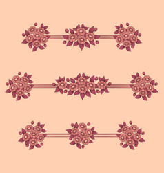 daisy flowers coral linear patterns vector image