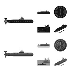 Design of war and ship icon collection of vector
