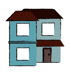 drawing blue home two floor out windows brown roof vector image