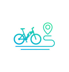 Electric bike and route icon on white vector
