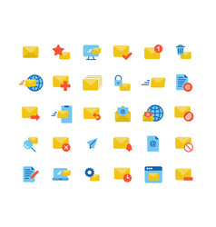 email and mail flat icon set vector image