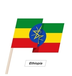 Ethiopia Ribbon Waving Flag Isolated on White vector image
