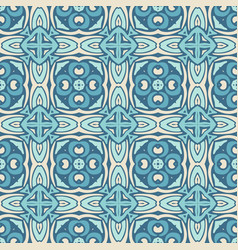 Ethnic seamless blue geometric pattern tile vector