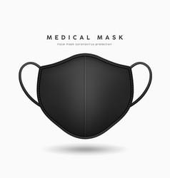 Face mask black color realistic mock up vector