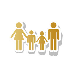 family sign golden gradient icon with vector image