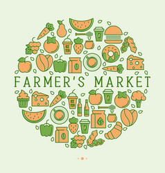 Farmers market concept in circle vector