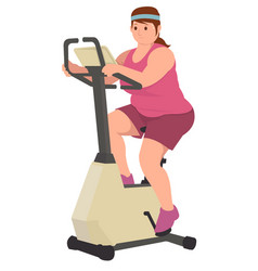 fat woman doing workout running to loss his vector image