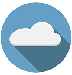 Flat design cloud icon with long shadow isolated vector image