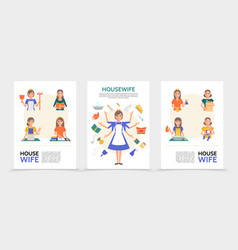 flat housewife posters vector image