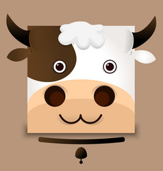 Flat image of an ox face on gray background vector