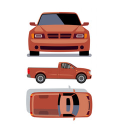 Flat-style cars in different views orange vector