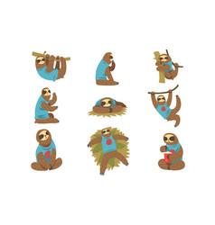 funny sloths set lazy exotic rainforest animal vector image
