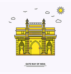 Gate way of india monument poster template world vector