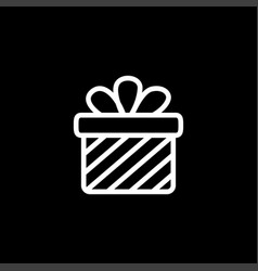 gift box line icon on black background black flat vector image