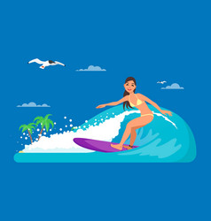 girl riding on ocean wave in vector image