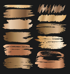 golden grunge brush strokes vector image