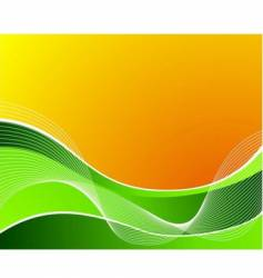 green wave on orange background vector image vector image