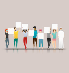 group young people holding empty boards vector image