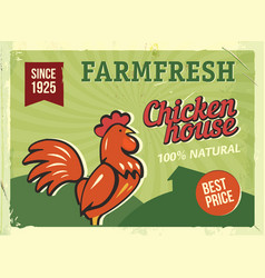 Grunge retro metal sign with chicken vintage vector