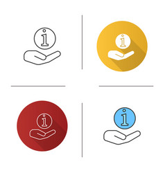 hand holding info sign icon vector image
