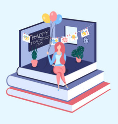 happy teachers day isometric concept vector image