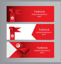 Happy tunisia independence day celebration vector