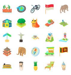 Holiday landmark icons set cartoon style vector