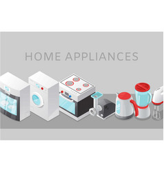 Home appliance electronics sale with isometric vector