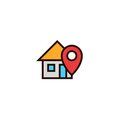 Home locator icon house with pin location symbol vector