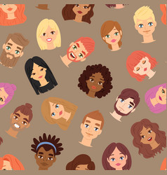 human man and woman head face icons vector image