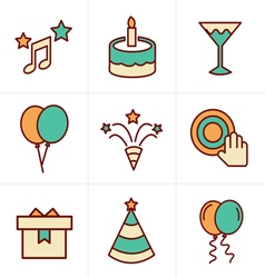 Icons Style party Icons Set Design vector image