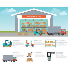 Infographic of warehouse load boxes and pallet vector