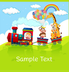 Kids and animals on train with sample text on vector