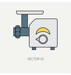 Line color kitchenware icons - meat grinder vector