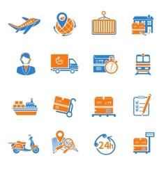 Logistic icons set orange vector image