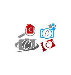 Logotype c modern template set vector