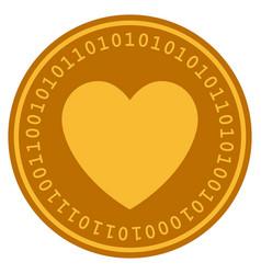Love heart digital coin vector