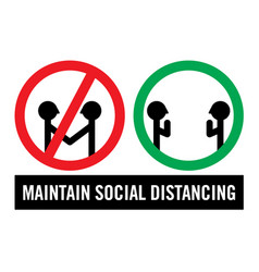 maintain social distancing sign vector image