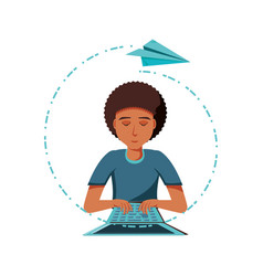man black with laptop computer and airplane paper vector image