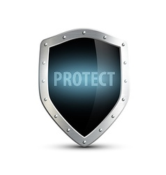 metal shield with the inscription protect isolated vector image
