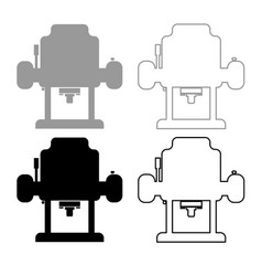 milling cutter icon outline set grey black color vector image