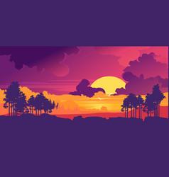 Minimalistic natural landscape evening sunset vector