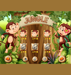 Monkey jungle game template vector