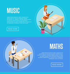 music and maths studying at school vector image