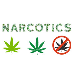 Narcotics caption collage of weed leaves vector